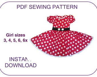 Minnie Mouse costume dress pattern for 3-7 yr. PDF sewing pattern for. 5 sizes. Instant download. Minnie costume pattern. Minnie outfit.