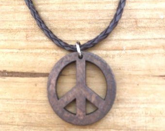 Wood Peace Necklace
