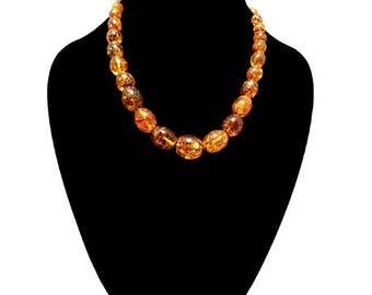 Natural Baltic Amber Necklace Cognac Barrel Shaped Pieces