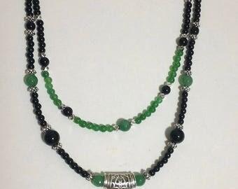 Gemstone Necklace, Multi Strand Pendant Necklace, Agate Pendant Necklace, Beaded Necklace, Jade, Black Onyx Necklace