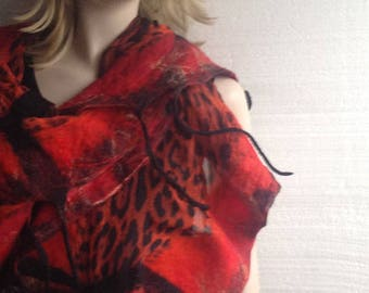 Nuno felted Long Red Black Animal print Silk Wool Attractive Ruffled Textured Wool Silk Felted Scarf with  fringe