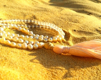 Freshwater pearl and frosted glass necklace with light pink tassel