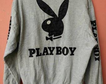 Vintage Playboy Big Logo Embroidery Sweatshirt Rare