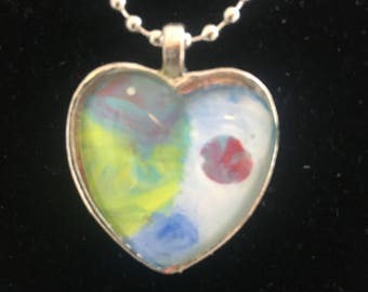 """One of a kind multi-colored heart shaped abstract art silver-toned pendant on a 24"""" ball chain"""