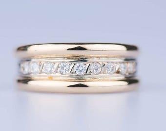 18 ct yellow gold ring 9 diamonds 1.08 ct.