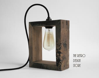 Hand made lamps from reclaimed oak