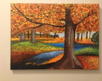 Fall Scenery Acrylic Painting- Authentic