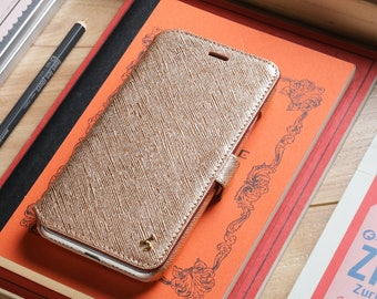 iPhone 7 Plus Genuine Leather Book Style Wallet Phone Case - Rose Gold Saffiano Leather