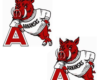 Arkansas Razorbacks Cornhole Decal Set Set of 2 10 x11