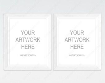 Two Frame Mockup, 2 White Frames, 2 Frame Mockup Set, White Frame Mockup, White Background, Wall Art Mockups, 2 Mock-up, Scandinavian