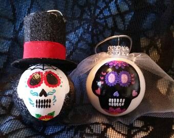 Day of the Dead, Sugar Skull, bride and groom, ornaments, wedding, anniversary, birthday, graduation, gift, cinco de mayo, horror, gothic