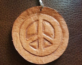 "Handcarved leather ""Peace"" keychain"