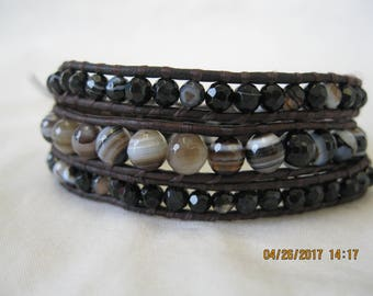 Onyx and Leather Wrap Bracelet