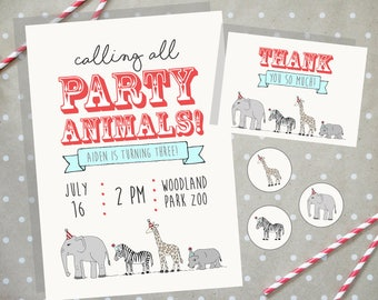 Animal Parade Customizable Party Invitation Set
