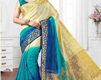 Tri Colour Saree with three colours combination- Royal Blue,Sky Blue, Cream colour with Gold Border