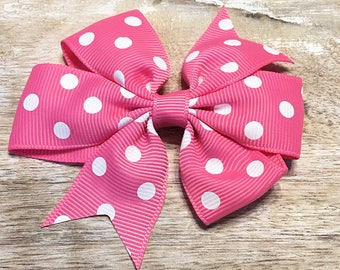 Persian Pink and White Polka Dot Grosgrain Ribbon Bow, Alligator Clip, Barrette, 3 inches wide, Hair bow, Girls