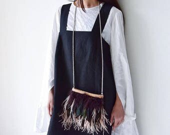 Exclusive Crossbody small bag with ostrich feathers