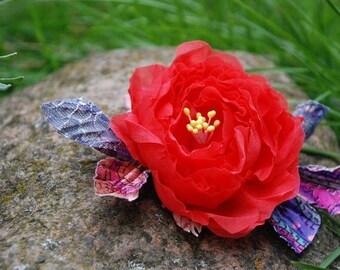 Silk Rose brooch