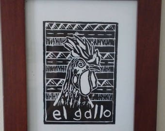 "Rooster ""El Gallo"" lino cut"