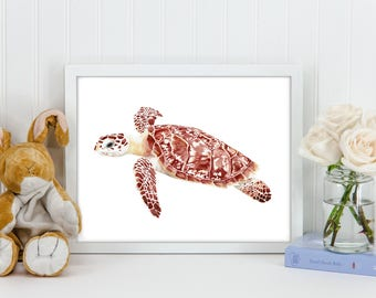 Sea Turtle Printable File, Watercolor Original Digital Print