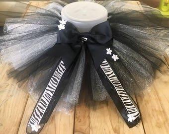 Tutu And Matching Bow Zebra Print Ribbon Black And Glitter Tulle Princess Birthday Photo style