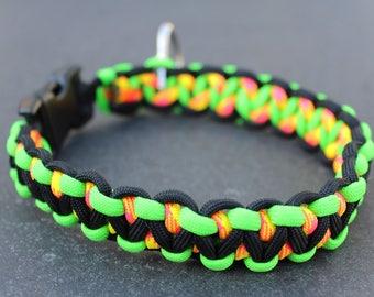 Paracord Dog Collar / Green, Black, TuttiFrutti / Solomon's Dragon