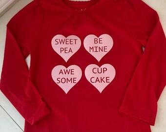 Conversation Heart Custom Toddler Girl Shirt