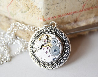 Steampunk Necklace, Steampunk Jewelry,  Steampunk Watch Necklace   Silver Color Pendant