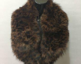 Real Natural Brown With Polka-Dot Black Fox Fur Collar