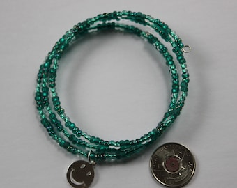 Turquoise Beaded Memory Wire Bracelet