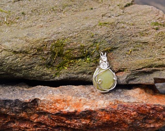 Sterling Silver Wire Wrapped Chrysoprase Pendant