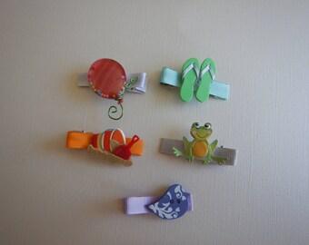 Set of 5 summer fun hair bows