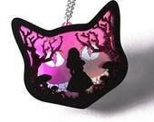 Wonderland Layered Diorama Necklace - Cheshire Cat