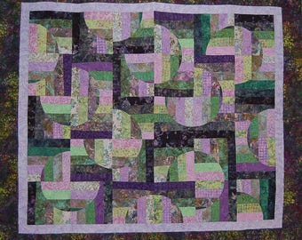 Purple and Green Batik Drunkard's Path Variation