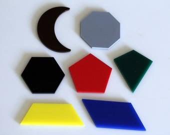 Complex Geometric Shapes, set of 7, colorful acrylic, montessori learning, shape recognition, Homeschool, beautiful math, math manipulative