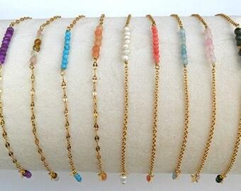 Dainty gold bracelet, gemstone bar Gemstonebar bracelet. Dainty bracelet. Elegant everyday jewel,minimal bracelet.