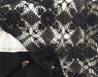 Black Shawl - Handmade Crochet Shawl - Black Crochet Shawl - Summer Shawl - Evening Shawl - Handmade Cotton Shawl - Crochet Scarf - Lace
