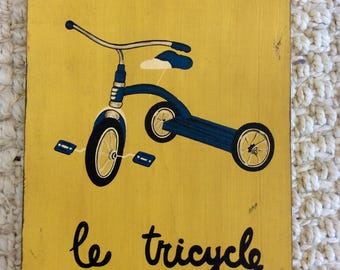 le tricycle - French Inspired Painted Wood Plaque