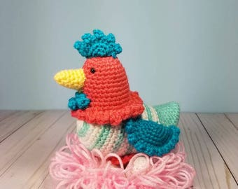 Crochet Chicken Amigurumi Stuffed Animal - Boy or Girl - Baby Shower Gift - Nursery Decor