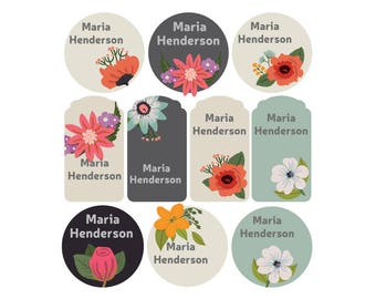 Personalized clothing name labels, iron on labels, Custom floral name labels, Custom labels for clothing, camp labels, heat transfer labels,