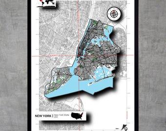 New York Map Poster Art print Impression Design Cartography