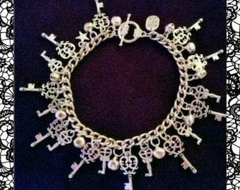 Keys and bells charm bracelet