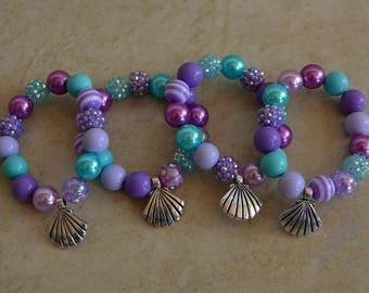 Bubble Gum Bead Bracelet, Purple/Lavender/Turquoise/ Mint, Seashell Charm