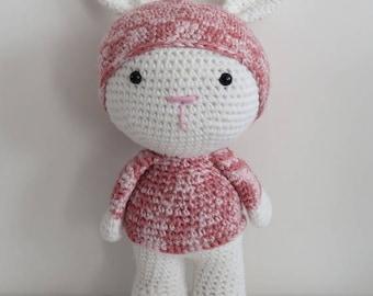 Pink and white Bunny crochet Amigurumi