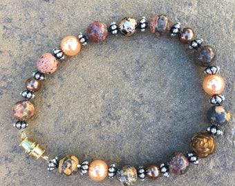 Earthy neutral stone bracelet