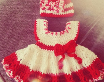 Baby girl hand made Candy Dress with matching hat