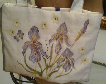 Sling bag in fabric, hand painted