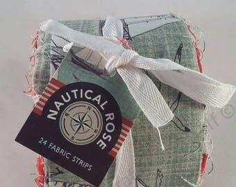 Nautical Jelly Roll Fabric 24 Pack Bundle 100% cotton