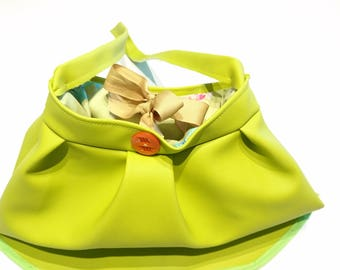 Designer Lime Green handbag leather look