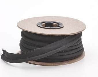 """Broadcloth cord piping, 1/2"""" Wide, 25 yds, Black"""